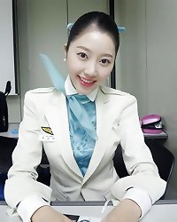 Korean air hostess spreading pussy